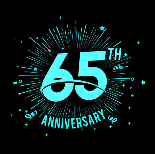 65th anniversary  with firework background. glow in the dark design concept vector art illustration