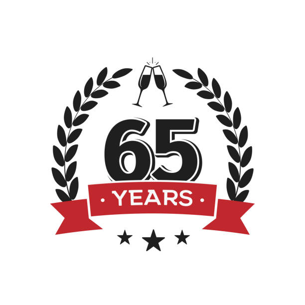 65th birthday vintage icon template. Sixty five years anniversary retro isolated vector emblem with red ribbon and laurel wreath on white background. vector art illustration