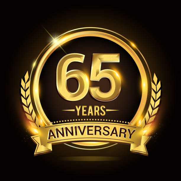 65th golden anniversary icon, with shiny ring and gold ribbon, laurel wreath isolated on black background, vector design vector art illustration