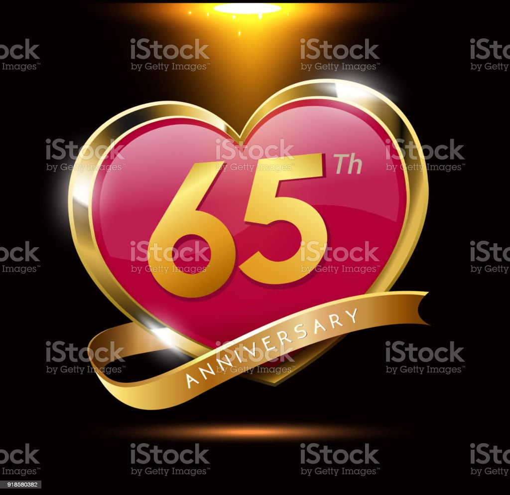 65th love anniversary with shiny gold on black background. heart shape with ribbon vector art illustration