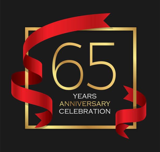 65th years anniversary celebration background vector art illustration