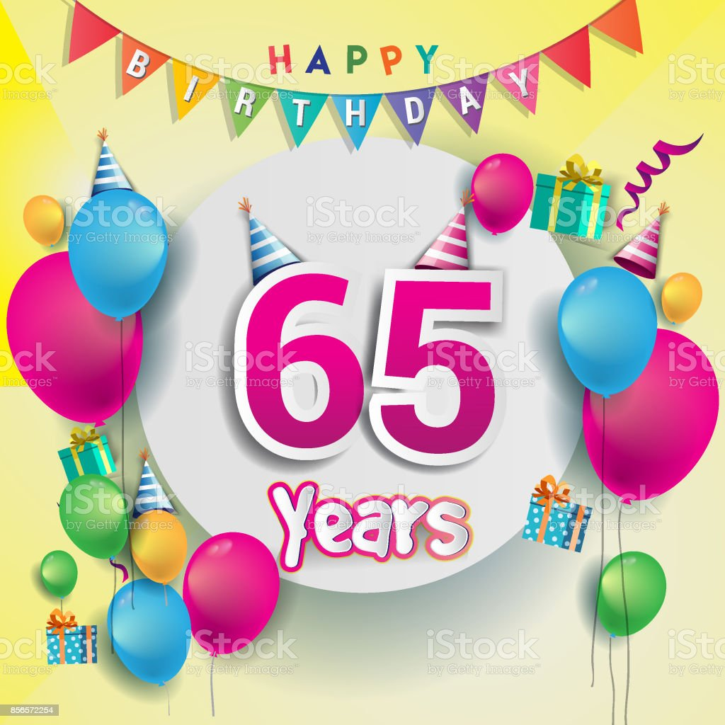 65th years Anniversary Celebration, birthday card or greeting card design with gift box and balloons, Colorful vector elements for the celebration anniversary party. vector art illustration