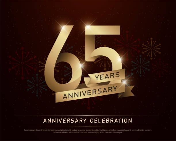 65th years anniversary celebration gold number and golden ribbons with fireworks on dark background. vector illustration vector art illustration