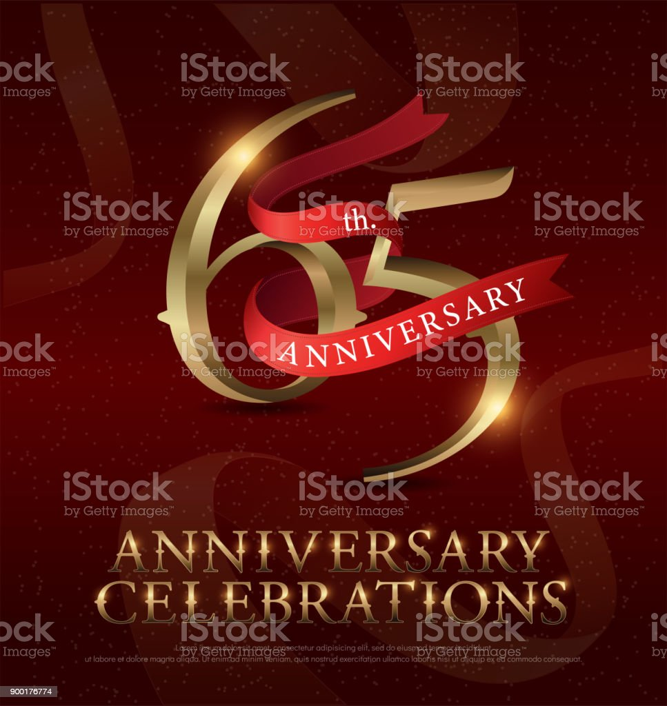 65th years anniversary celebration golden logo with red ribbon on red background. vector illustrator vector art illustration