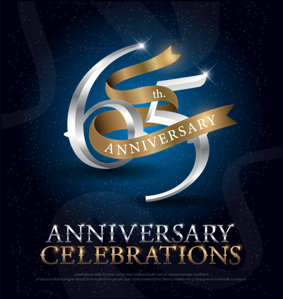 65th years anniversary celebration silver and gold logo with golden ribbon on dark blue background. vector illustrator vector art illustration