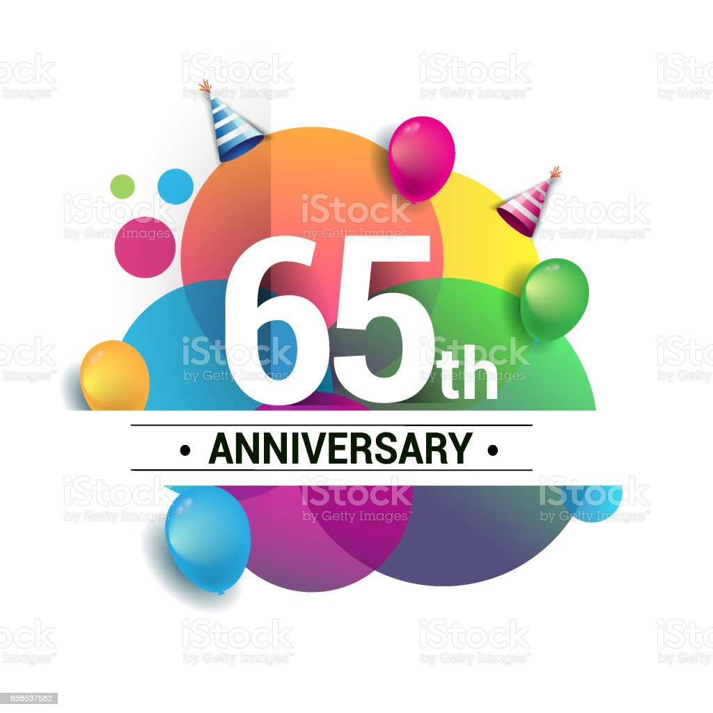 65th years anniversary logo, vector design birthday celebration with colorful geometric, Circles and balloons isolated on white background. vector art illustration
