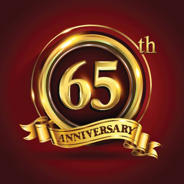 65th years anniversary logo with gold ring and golden ribbon, vector design vector art illustration
