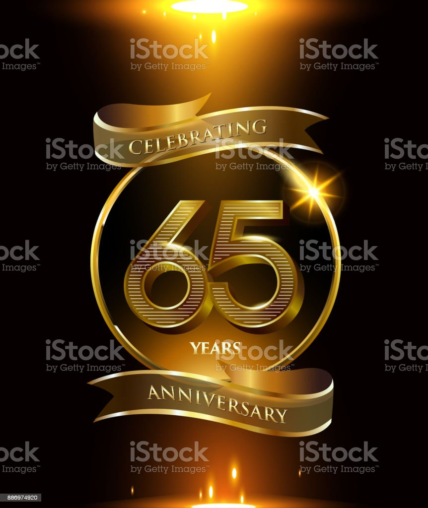 65th years anniversary logo with golden ring and ribbon colored isolated on black background, vector design for party greeting card and invitation card. celebration logotype template vector art illustration