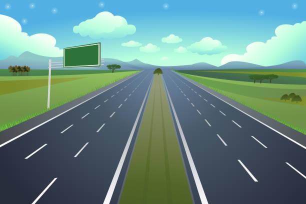 Autopista 6 con señal - ilustración de arte vectorial