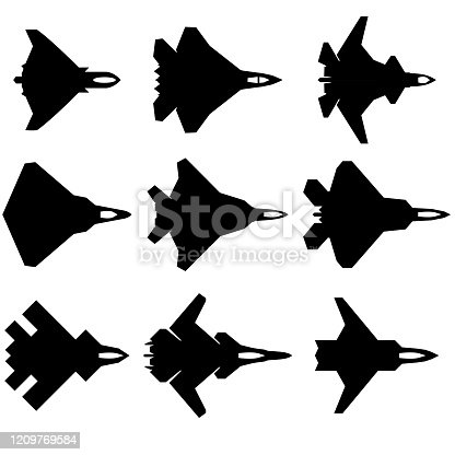 6th generation fighters vector illustration icons showing current and advanced/planned models of potential fighter aircraft and drone models for the 21st century.  These icons represent high-tech and stealthy aircraft.  There are 9 icons.