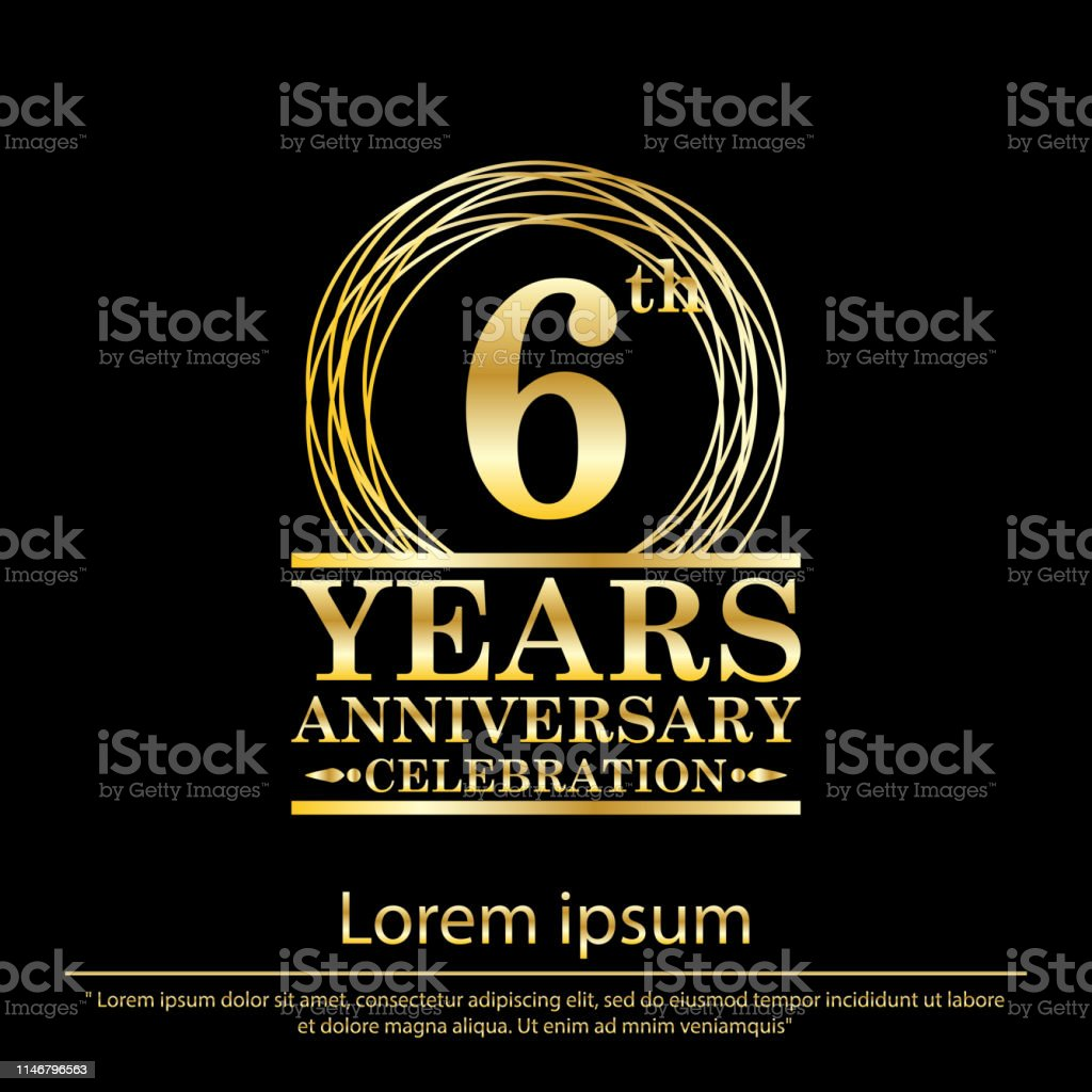 6th years anniversary celebration. anniversary logo with golden ring...