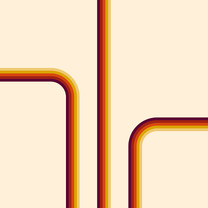 70s, 1970 abstract vector stock retro lines background.