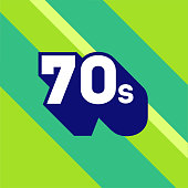istock 70s logo design. 1970s sign with long shadow. Number seventy. Vector element. 1332132208
