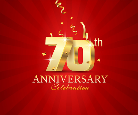70th 3d Anniversary celebration banner with festival confetti on red abstract background