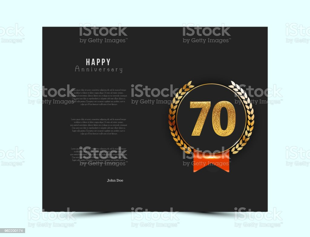 70th anniversary black card with gold and red elements. 70 year jubilee invitation / greeting card. - illustrazione arte vettoriale