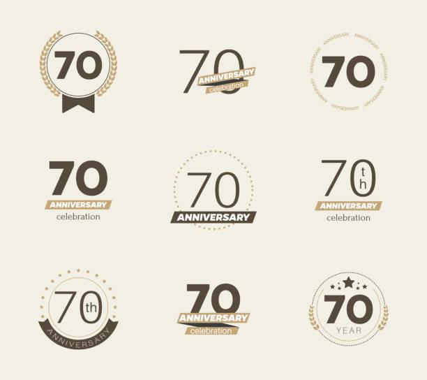 70th anniversary celebration  logo set. vector art illustration
