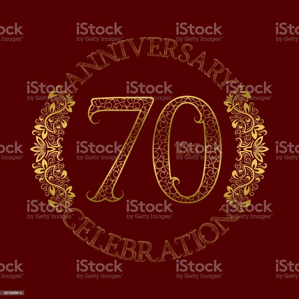 70th anniversary celebration vintage patterned symbol. 70th anniversary celebration vintage patterned symbol - immagini vettoriali stock e altre immagini di 70-79 anni royalty-free