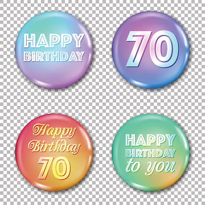 70th anniversary icons set. Happy birthday labels