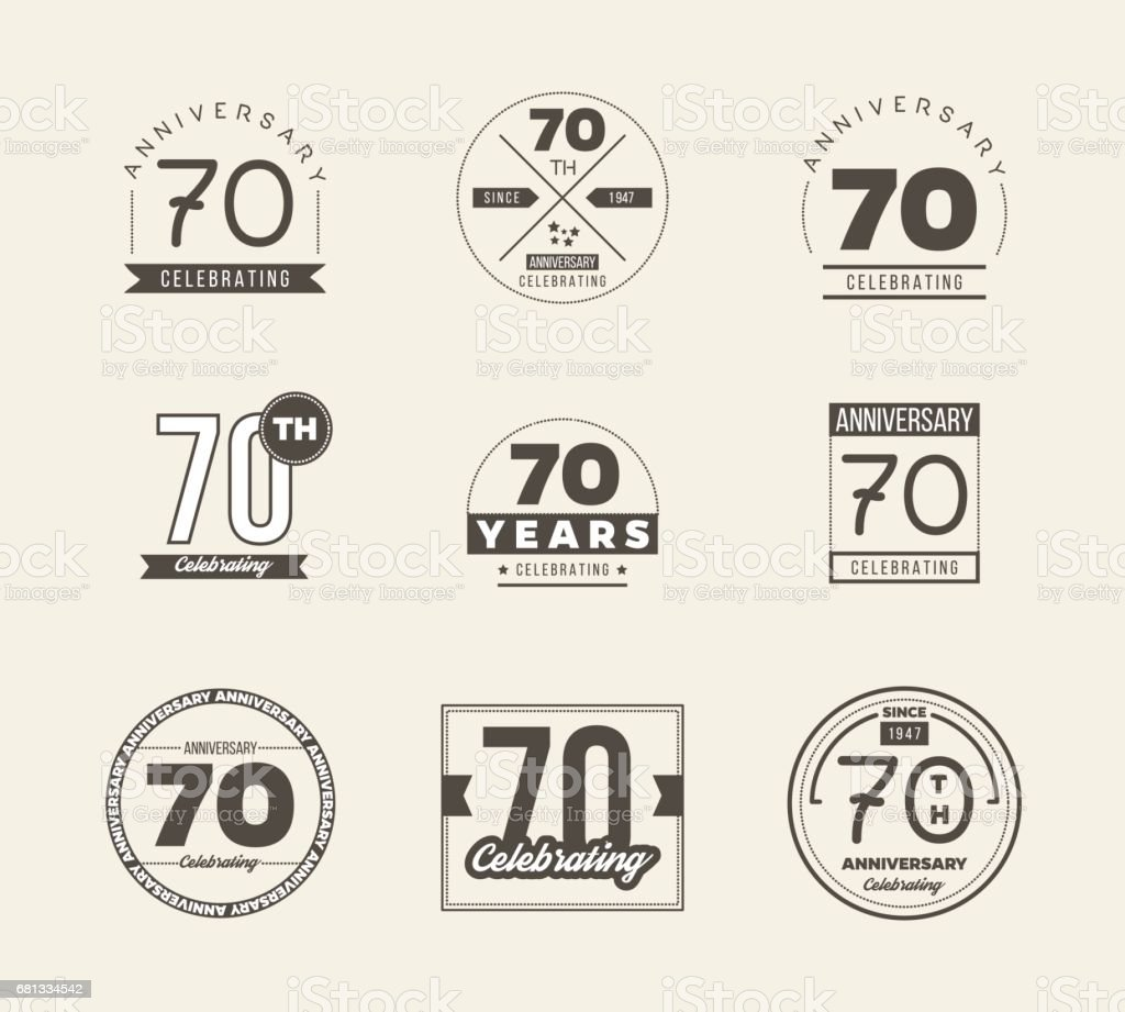 Download 70th Anniversary Vintage Symbol Set 70 Years Symbols Stock ...