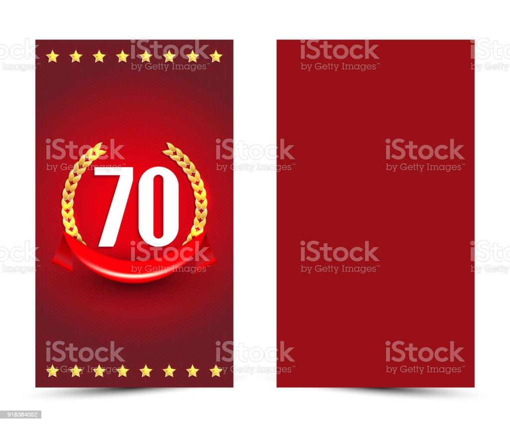 Ilustración De 70 Plantilla De Tarjeta De Cumpleaños