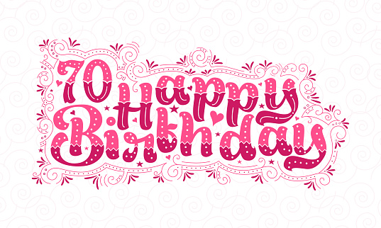 70th Happy Birthday lettering, 70 years Birthday beautiful typography design with pink dots, lines, and leaves.