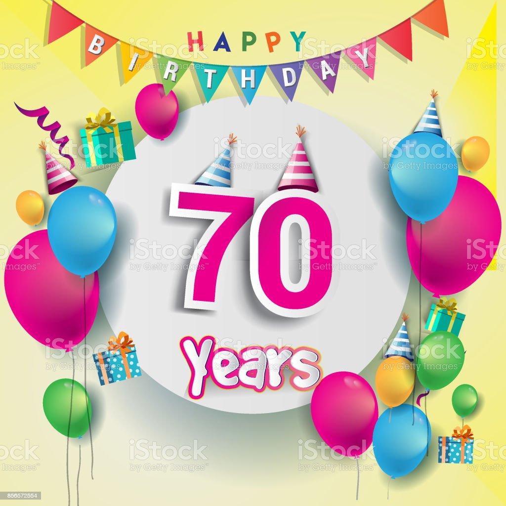 70th Years Anniversary Celebration Birthday Card Or Greeting Card ...