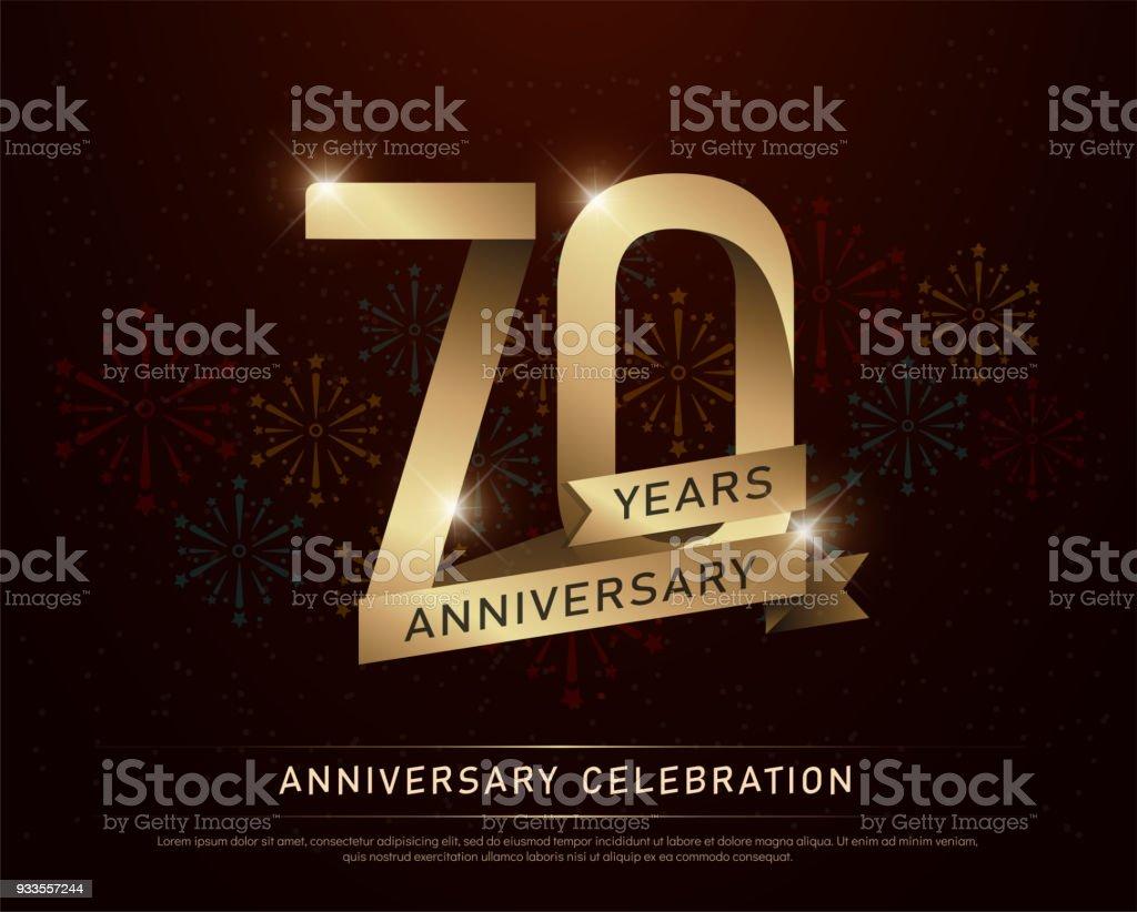 Ilustracion De 70 Anos Aniversario Celebracion Oro Numero Y Cintas