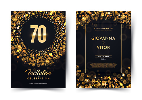 70th years birthday vector black paper luxury invitation double card. Seventy years wedding anniversary celebration brochure. Template of invitational for print dark background with bokeh lights