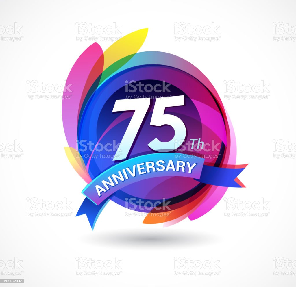 75th anniversary - abstract background with icons and elements vector art illustration