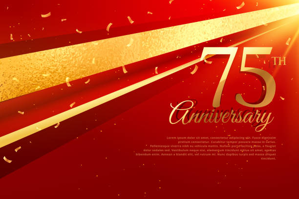 75th anniversary celebration card template vector art illustration