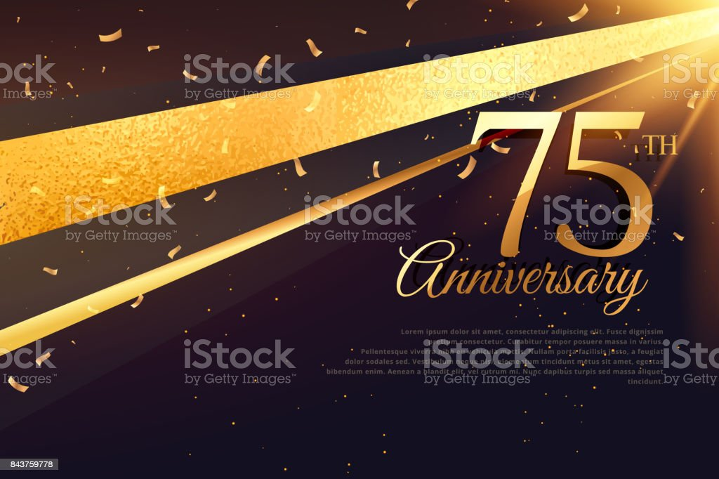 75th anniversary celebration card template vector art illustration