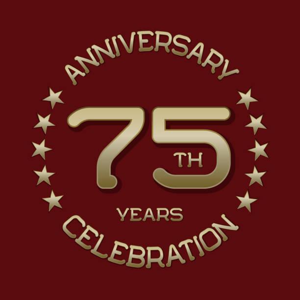 75th Anniversary Celebration Symbol Golden Circular Editable Emblem