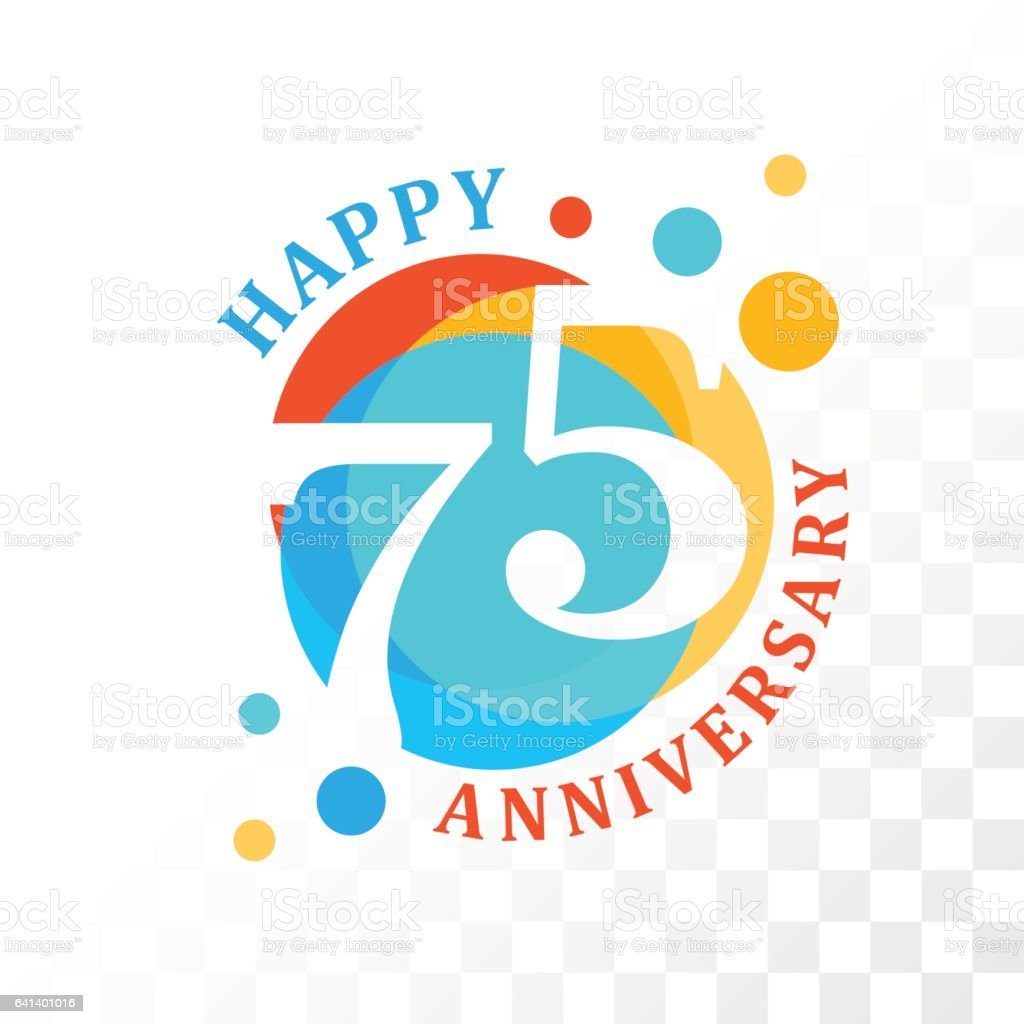 75th Anniversary emblem. vector art illustration