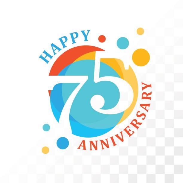 75th Anniversary emblem. vector art illustration