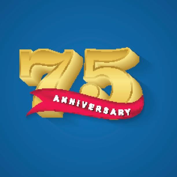 75th anniversary gold emblem design template vector art illustration