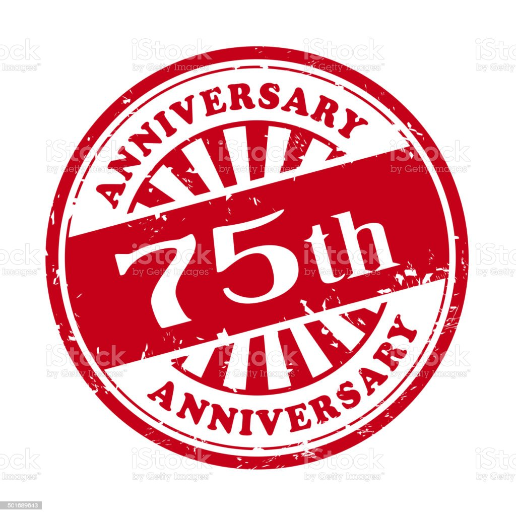 75th anniversary grunge rubber stamp vector art illustration