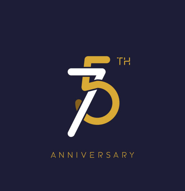 75th anniversary logo.overlapping number with simple monogram color. vector design for greeting card and invitation card. vector art illustration