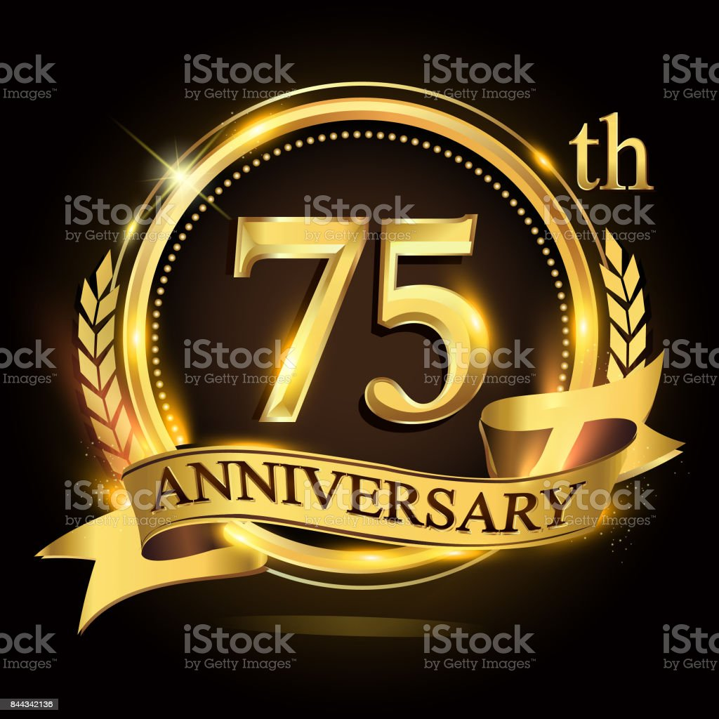 75th golden anniversary icon,  with ring and ribbon, laurel wreath vector design. vector art illustration