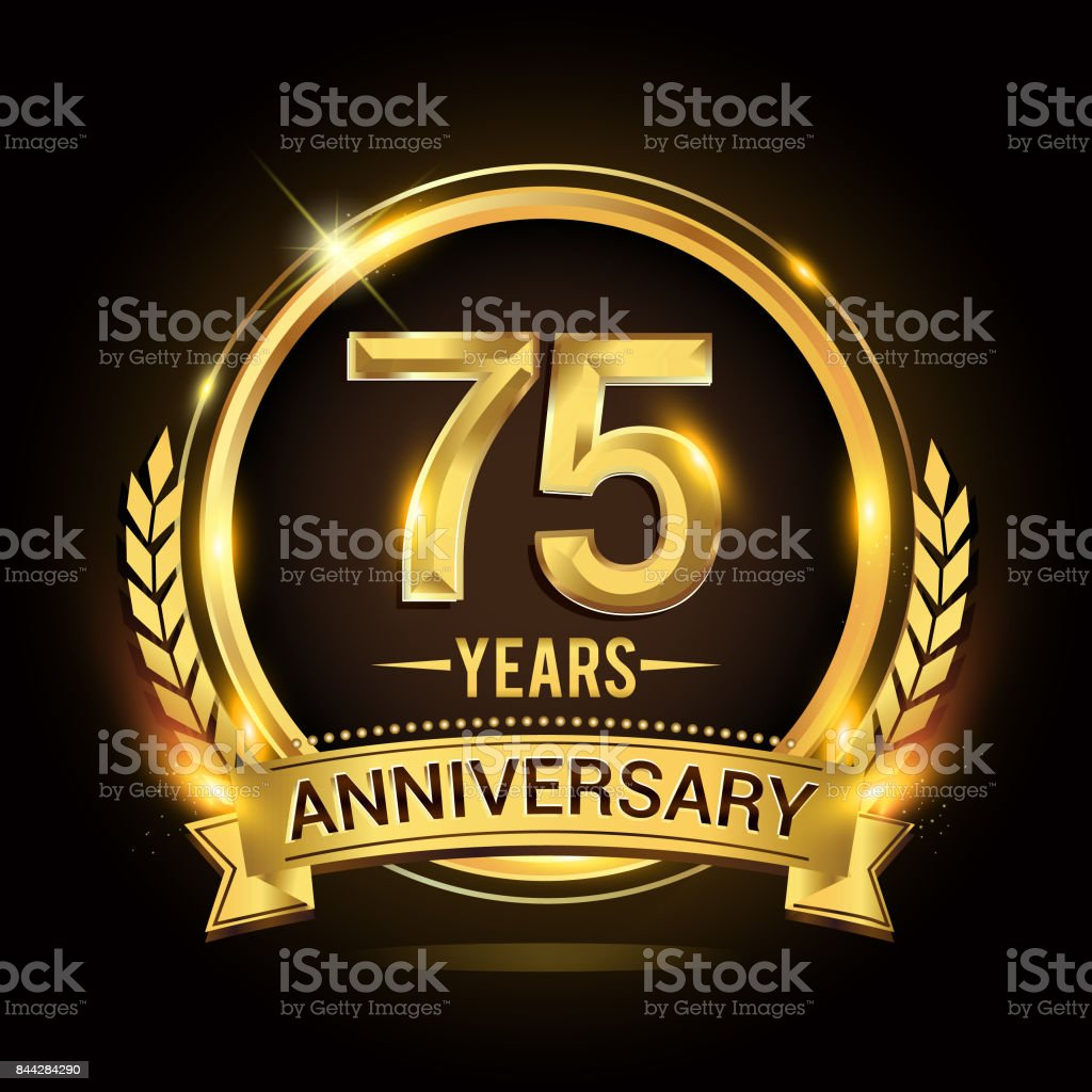 75th golden anniversary icon, with shiny ring and gold ribbon, laurel wreath isolated on black background, vector design vector art illustration