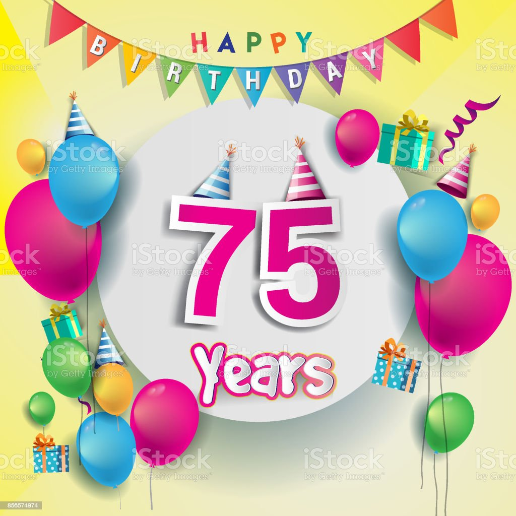 75th Years Anniversary Celebration Birthday Card Or Greeting Design With Gift Box And Balloons Colorful Vector Elements For The