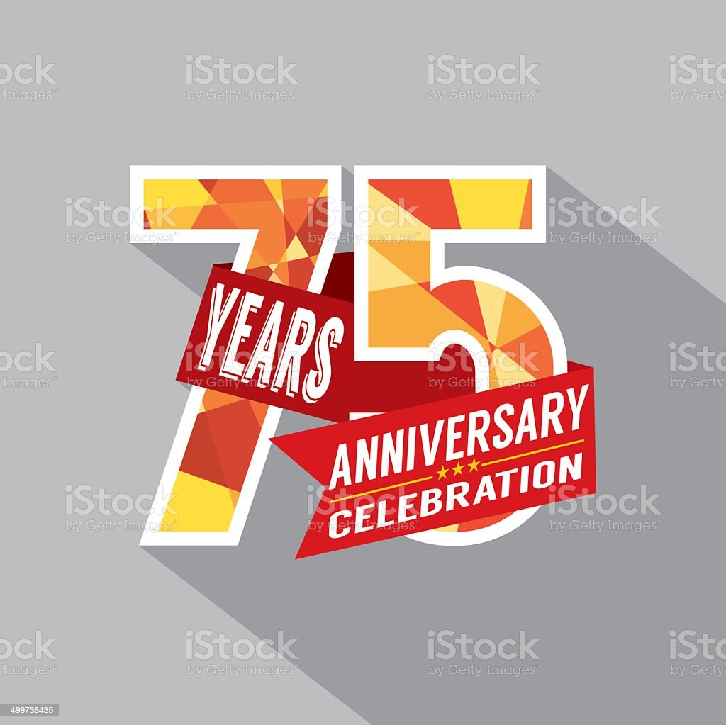 75th Years Anniversary Celebration Design vector art illustration