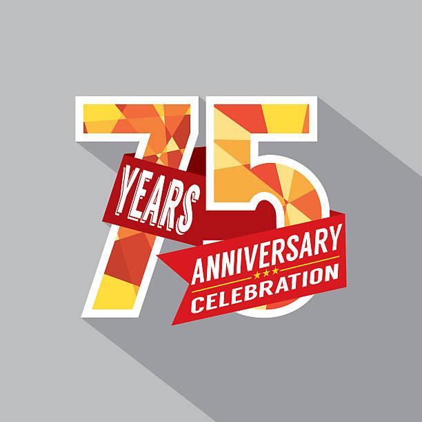 75th Years Anniversary Celebration Design vector art illustration
