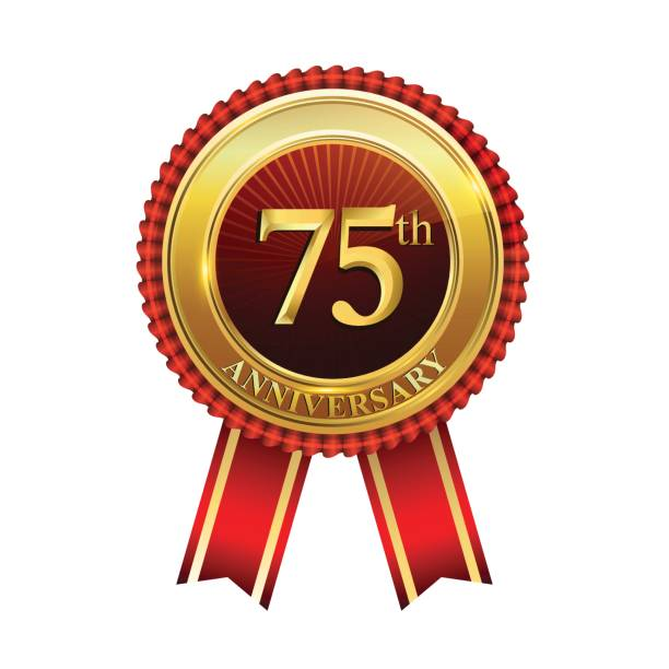 75th years anniversary golden badge with red ribbons isolated on white background, vector design for greeting card, banner and invitation card. vector art illustration