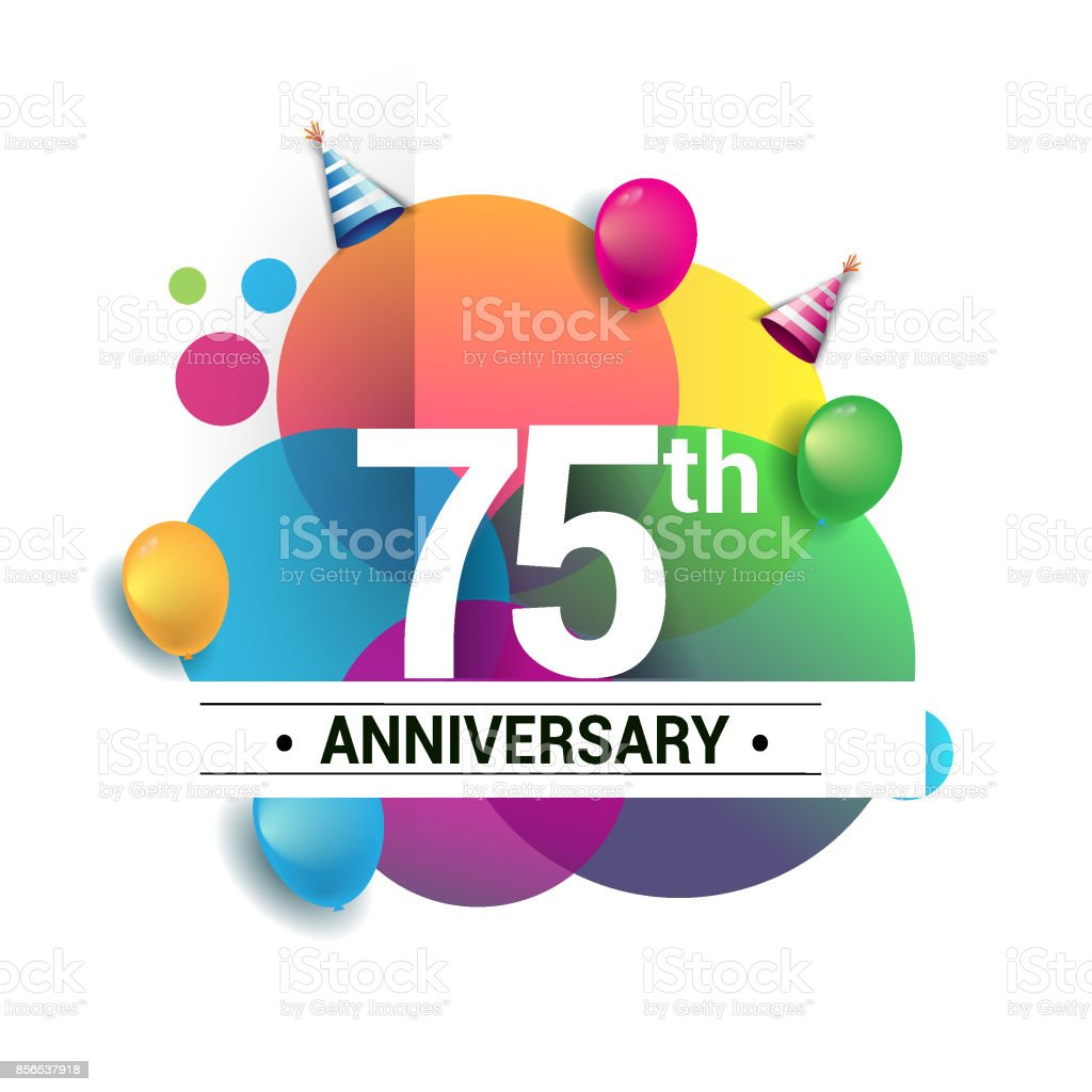 75th years anniversary logo, vector design birthday celebration with colorful geometric, Circles and balloons isolated on white background. vector art illustration