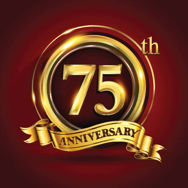 75th years anniversary logo with gold ring and golden ribbon, vector design vector art illustration