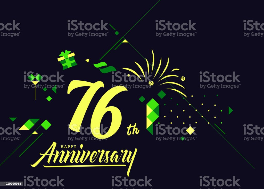 76th happy anniversary lettering text banner dark color with geometric background royalty free 76th
