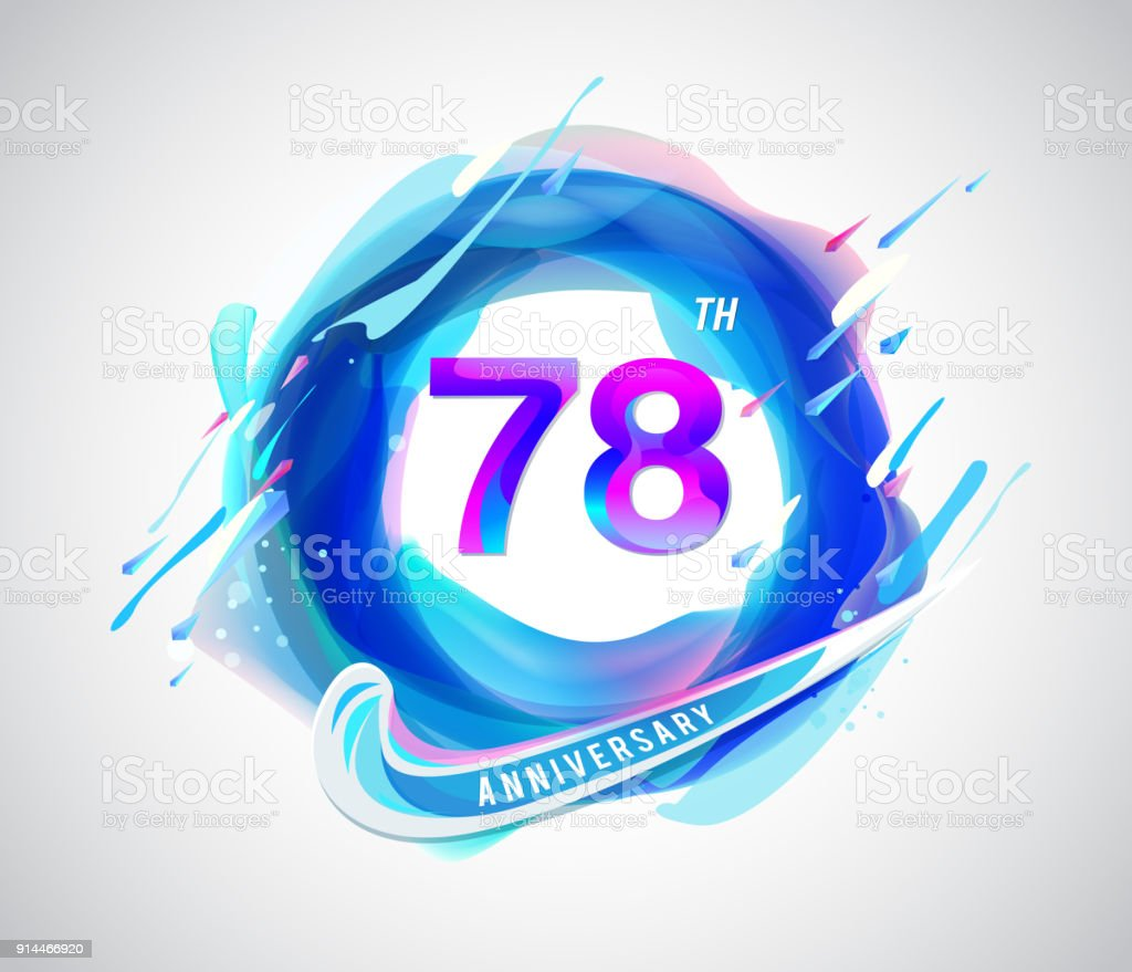 78th Colorful Anniversary Symbol Abstract Liquid Color Elements