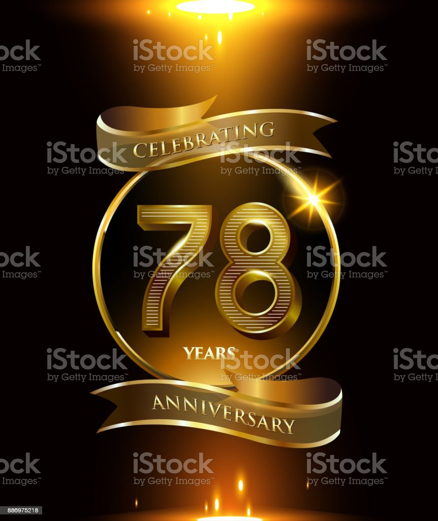 78th Years Anniversary Logo With Golden Ring And Ribbon Colored