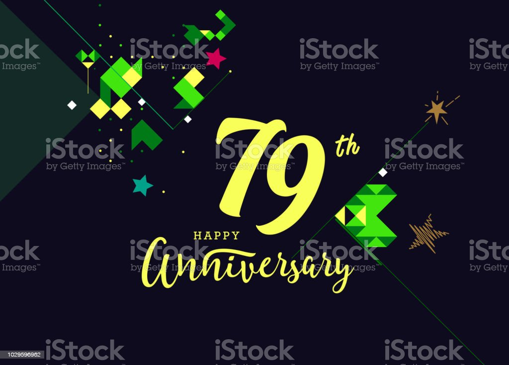 79th happy anniversary lettering text banner dark color with geometric background royalty free 79th
