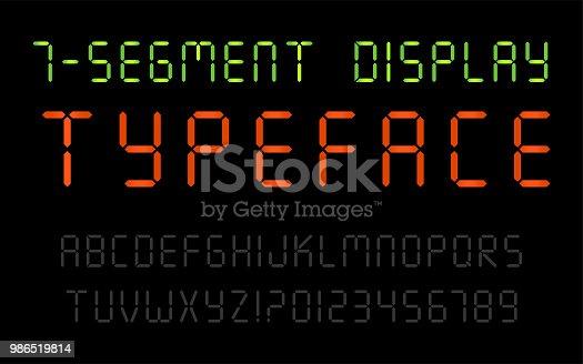 7-Segment Display Typeface on the Black Background